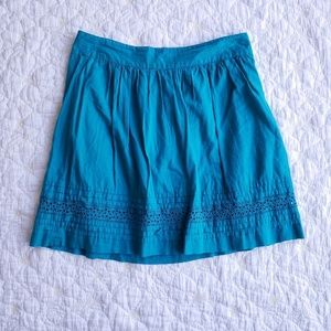 LOFT Solid Turquoise Pleated A-line Skirt